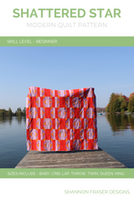 Load image into Gallery viewer, Shattered Star quilt pattern - beginner friendly modern take on a star quilt, available in 7 sizes from baby through King. Shannon Fraser Designs #modernquiltpattern