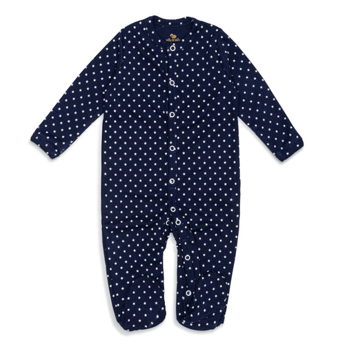Front of ultra-soft Peruvian Pima cotton baby footie in navy blue with white stars.