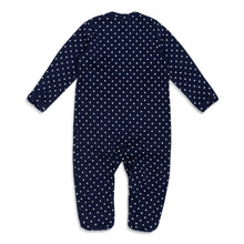 Back of ultra-soft Peruvian Pima cotton baby footie in navy blue with white stars.