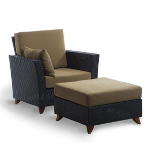 rattan chair and ottoman