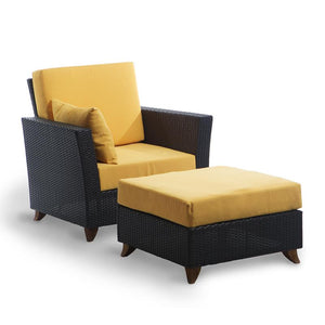 Rattan Chair and Ottoman Set