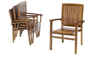 5pc Stacking Chair and Oval Table Set