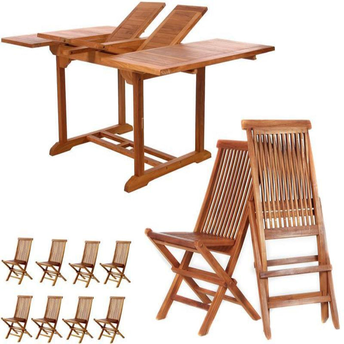 9 Piece Folding Chair Dining Set