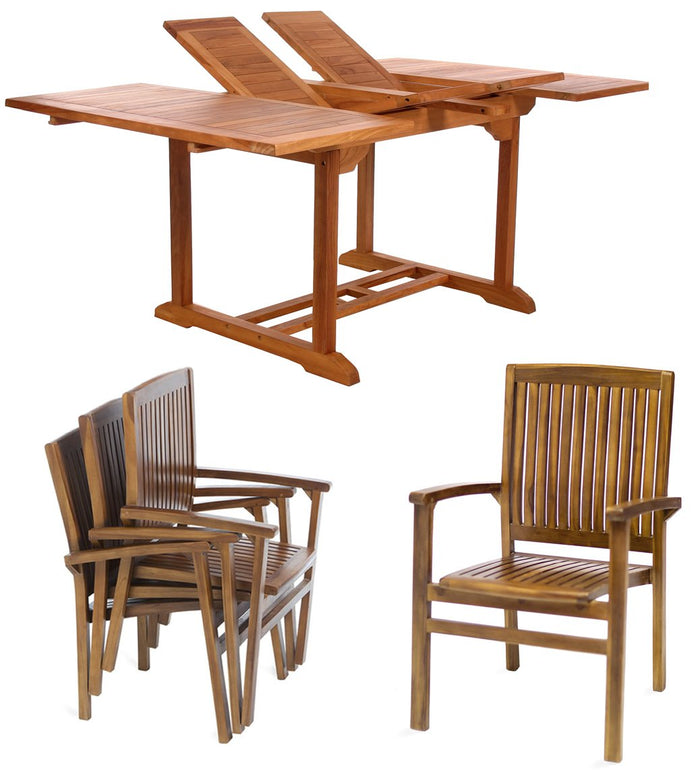 5 Piece Stacking Chair Dining Set