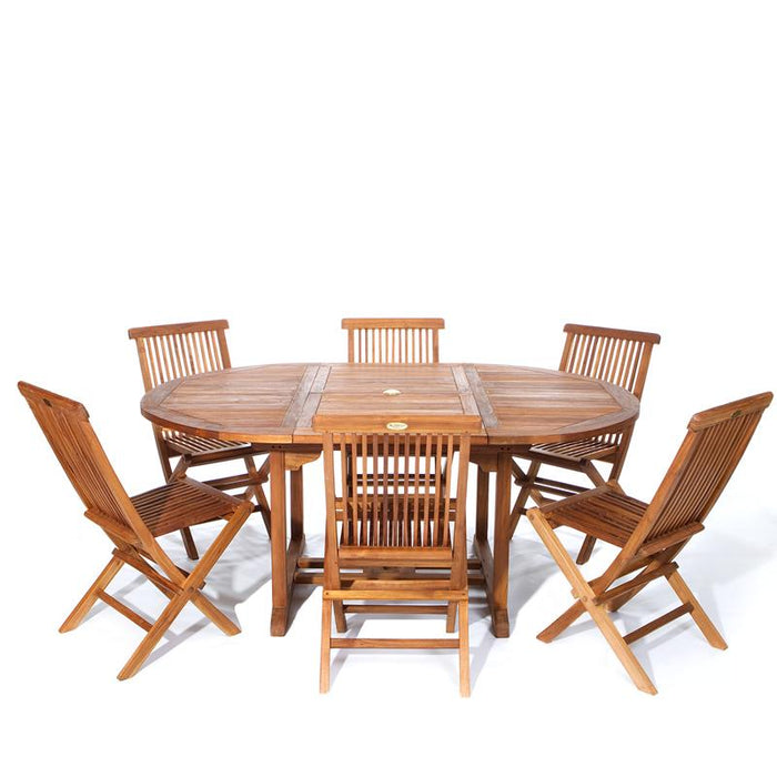 7 Piece Folding Chair and Oval Table Set