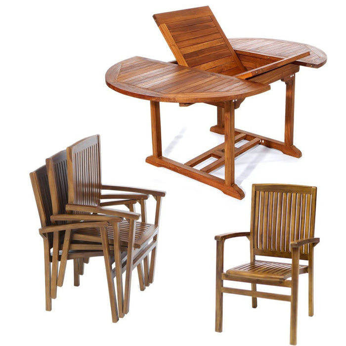 5 Piece Stacking Chair and Oval Table Set