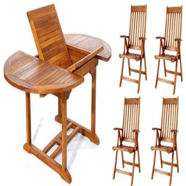 5 Piece Folding Arm Chair and Oval Table Set