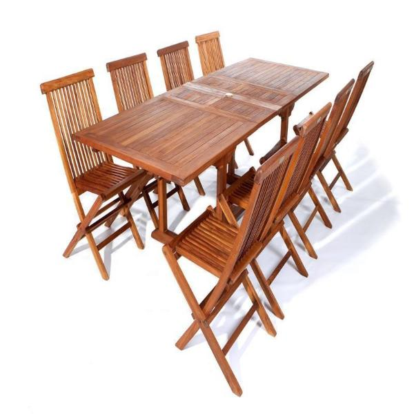 9 Piece Folding Chair and Rectangle Table Set