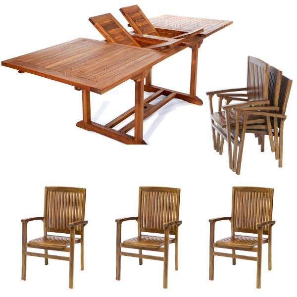 7pc Stacking Chair and Rectangle Table Set