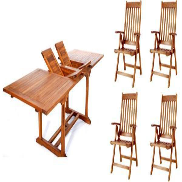 5pc Folding Arm Chair and Rectangle Table Set