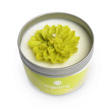 Scented Tin Candle with Hand-Poured Wax Flower