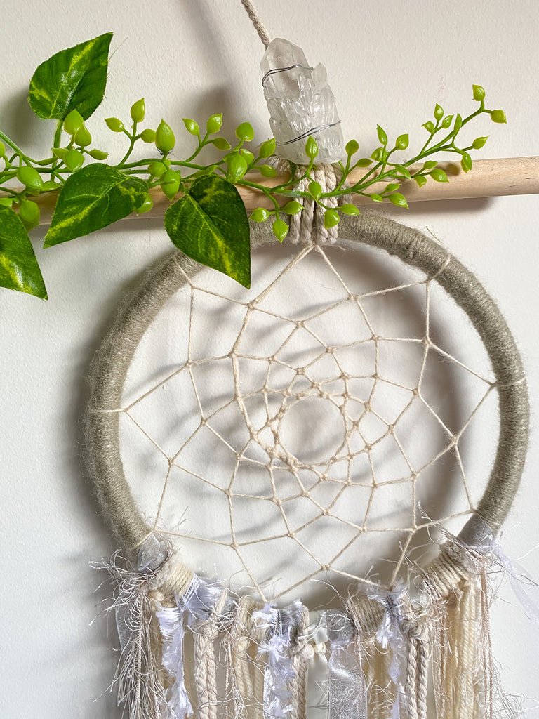 CLEAR QUARTZ Hanging Stone & DreamCatcher
