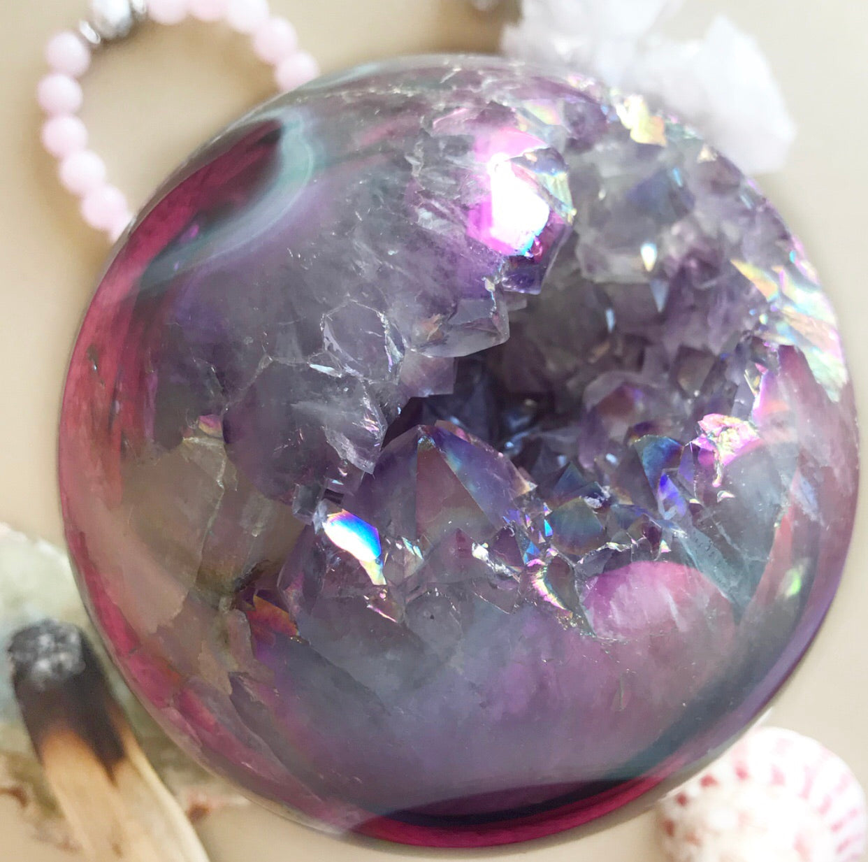 Rainbow Angel Aura Quartz Geode Sphere #4