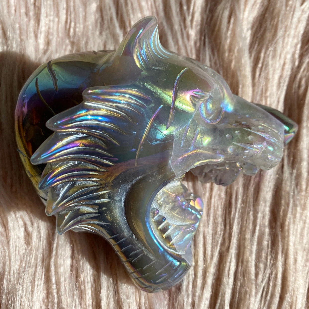 TIGER - Agate Angel Aura Handcarved Head