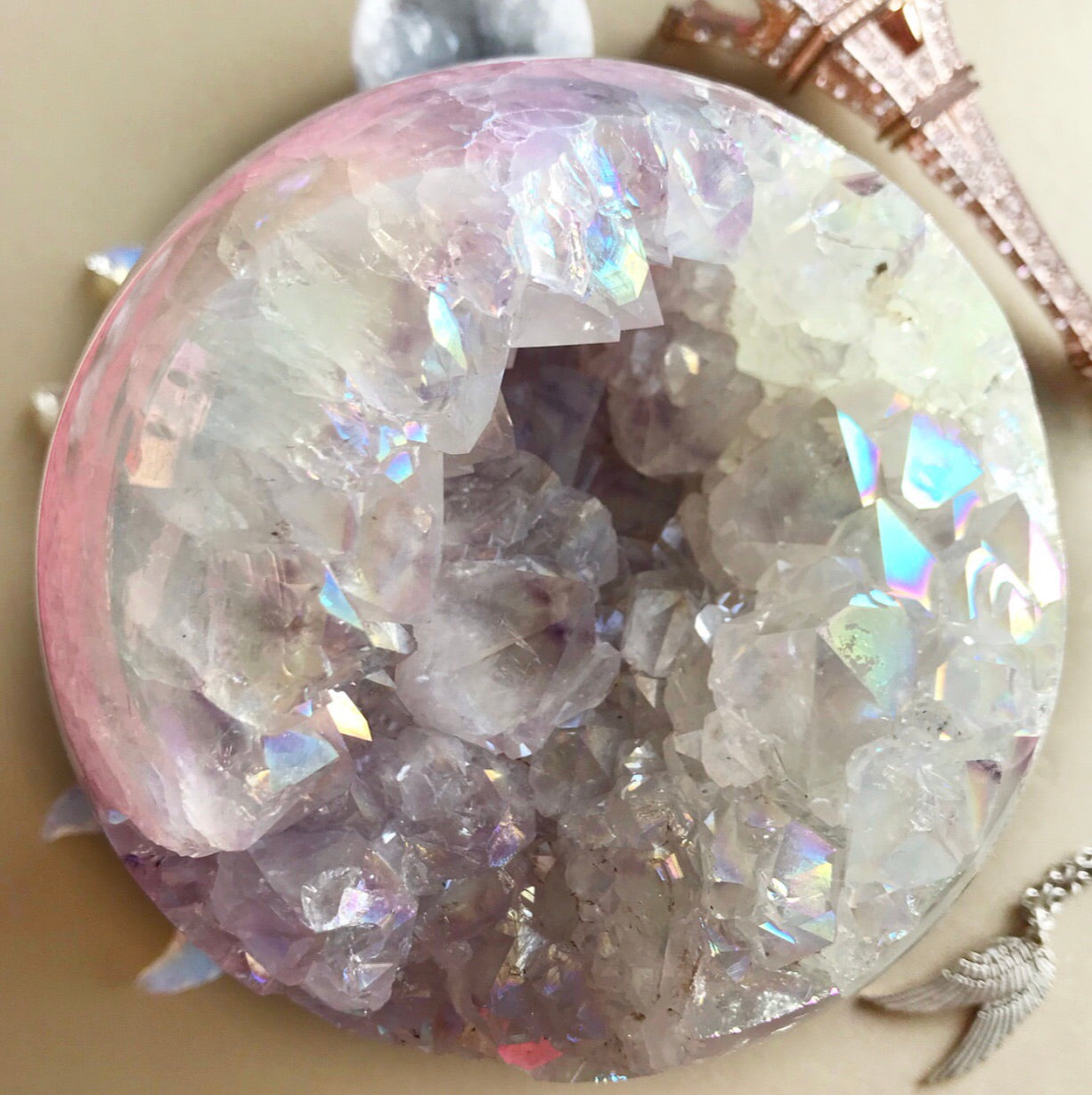 Rainbow Angel Aura Quartz Geode Sphere #3