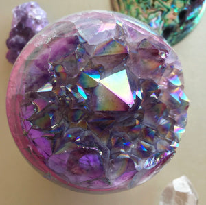 Rainbow Angel Aura Quartz Geode Sphere #1