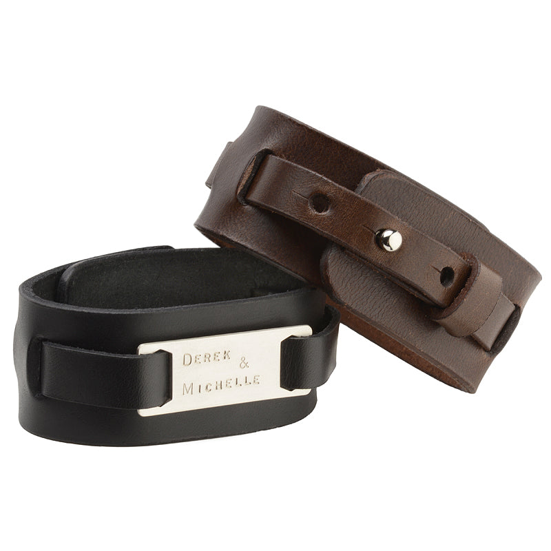 Men's Black Leather Cuff