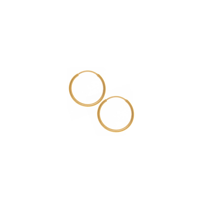 15mm Solid Yellow Gold Hoop Earrings