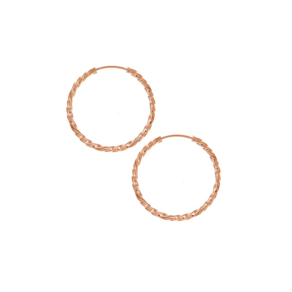 25mm Twisted Rose Gold Hoop Earrings