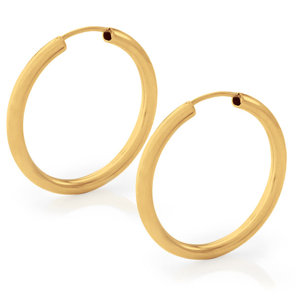 25mm Thick Yellow Gold Hoop Earrings