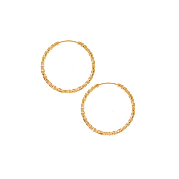25mm Twisted Yellow Gold Hoop Earrings