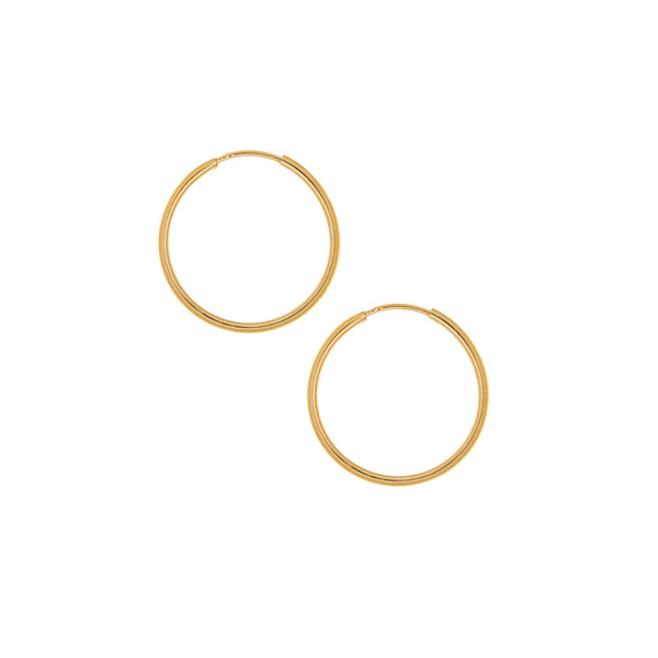25mm Yellow Gold Hoop Earrings
