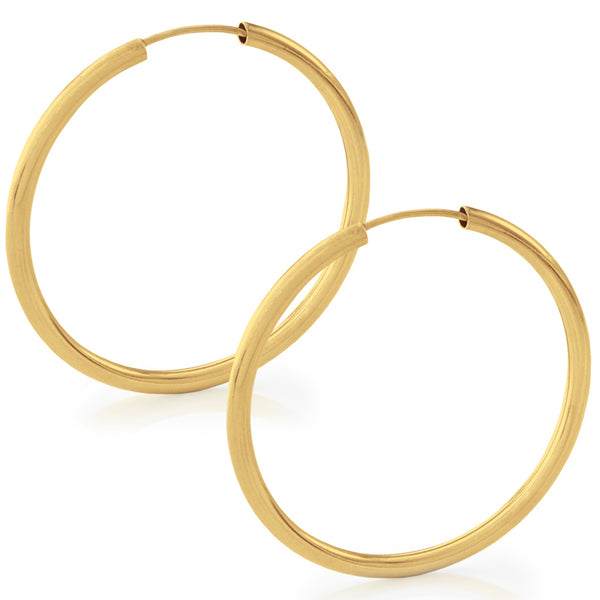 36mm Thick Yellow Gold Hoop Earrings