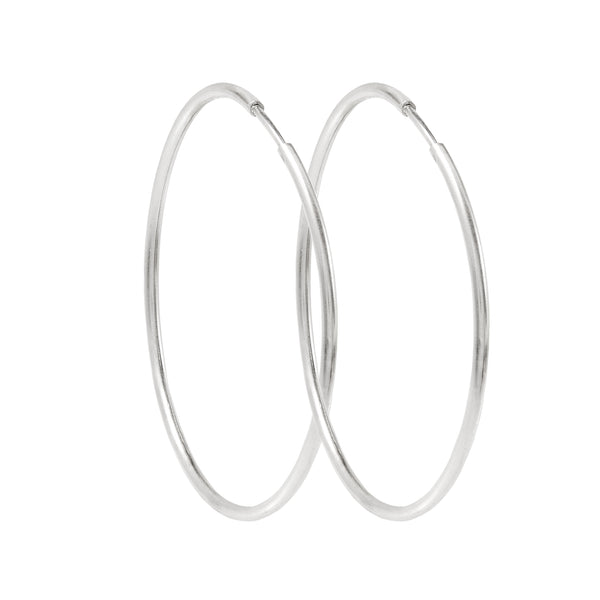 50mm Silver Hoop Earrings
