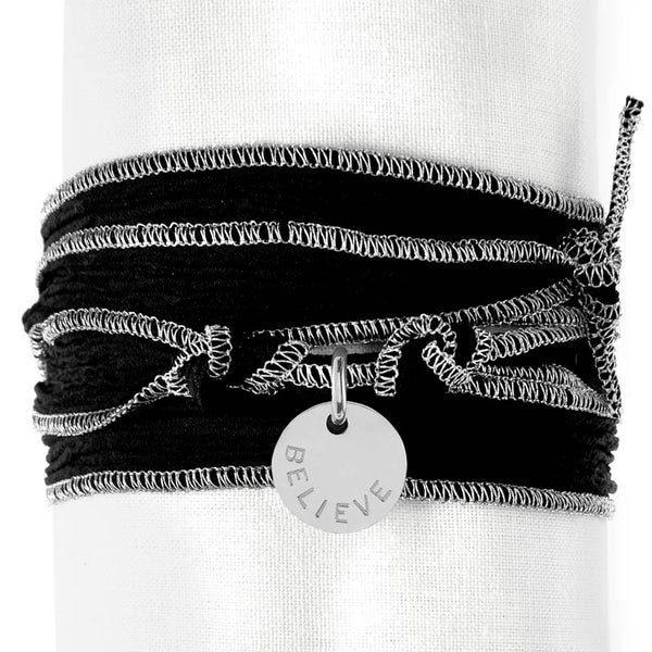 Black Silver Silk Wrap
