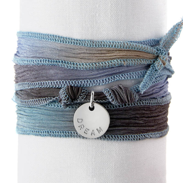 Blue Grey Tea Silk Wrap