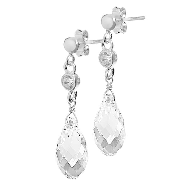 Briolette Crystal CZ Stud Earrings