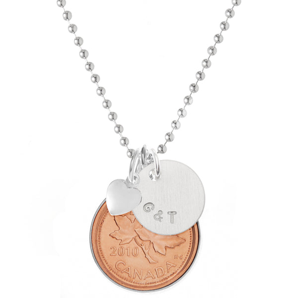 Canadian Penny Necklace Silver Edged