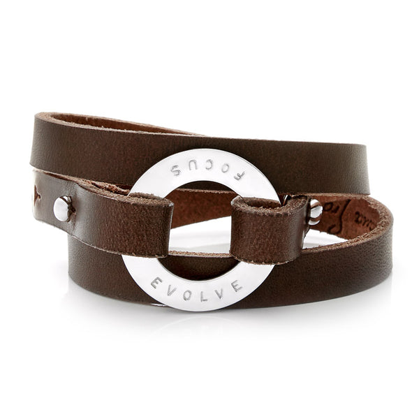 Personalized Dark Brown Leather Cuff