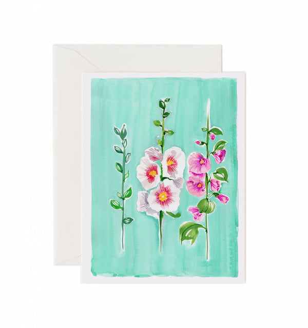 Hollyhock Greeting Card