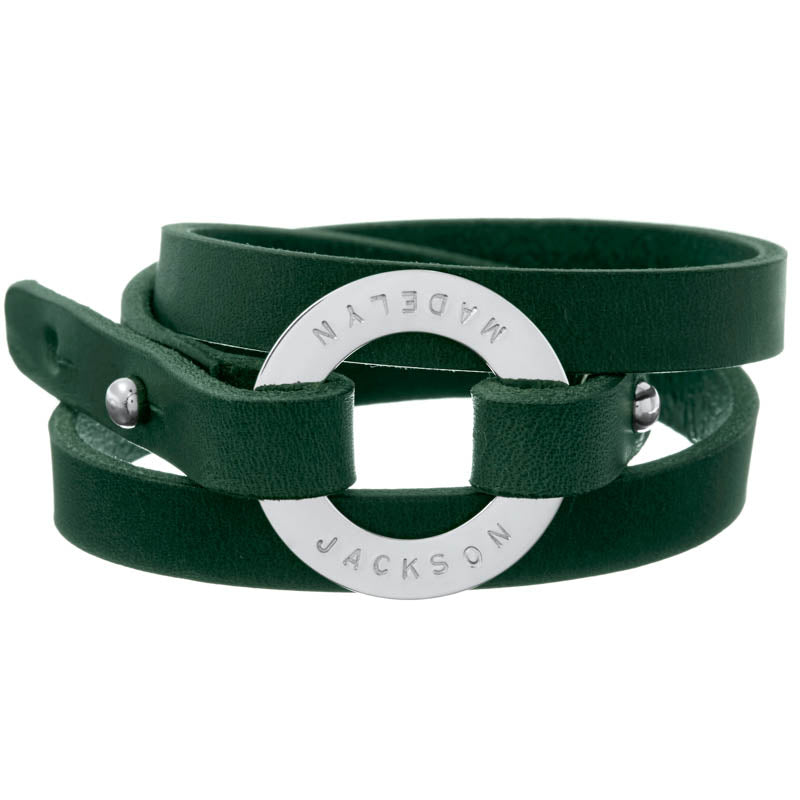 Personalized Hunter Green Leather Cuff