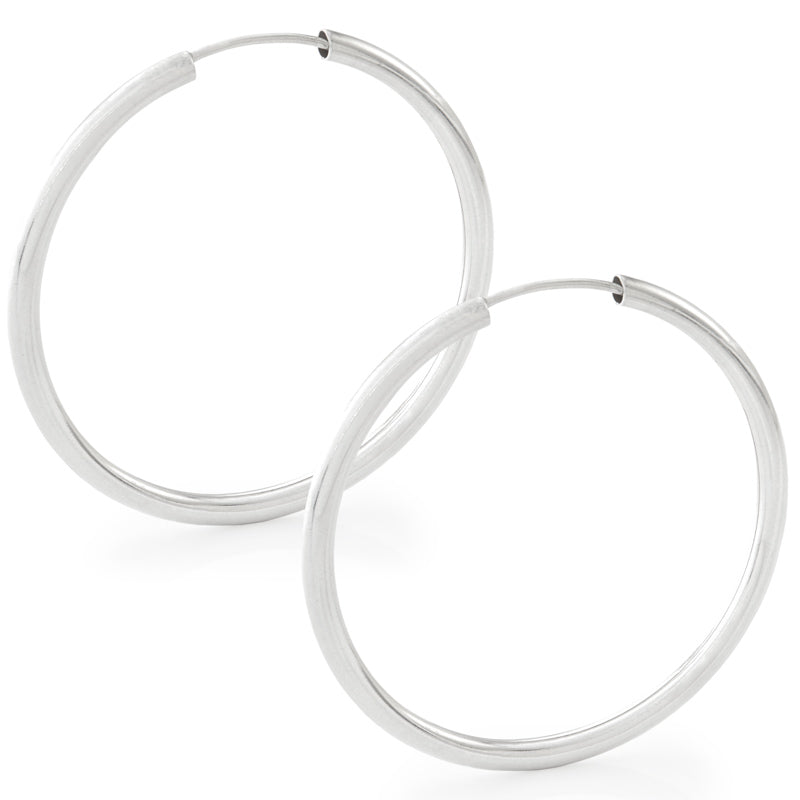 36mm Thick Silver Hoop Earrings