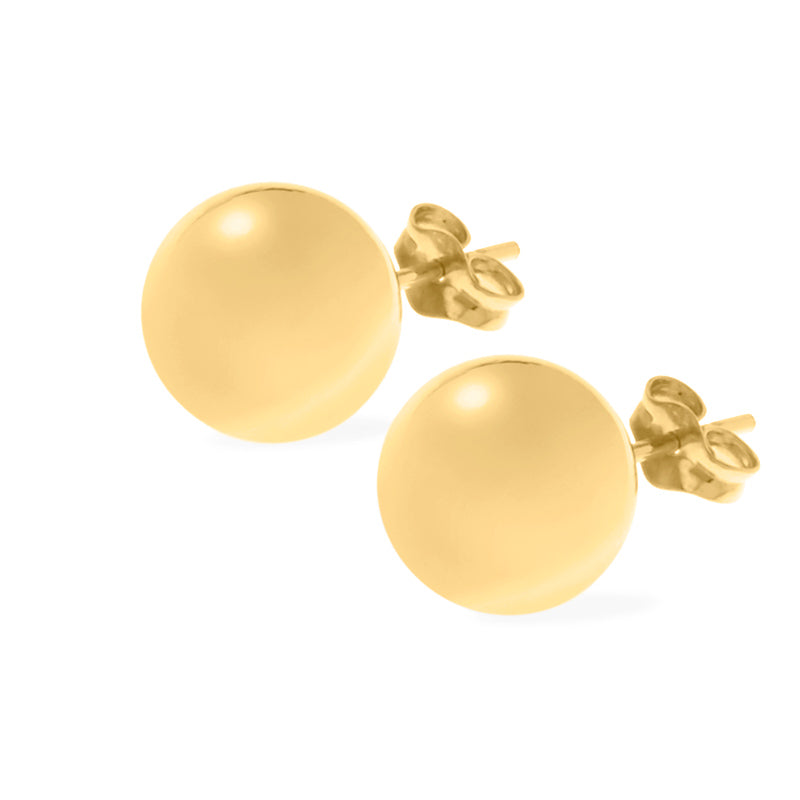 Large Yellow Gold Ball Stud Earrings