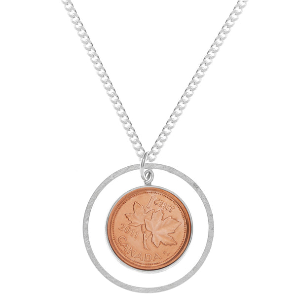 Citrus Silver | Silver Jewellery, Handmade jewelry in Toronto | Our Canadianna collection with patriotic jewellery, canadian penny jewelry, hockey jewelry | Pick your Lucky Penny! We love how iconic the Canadian Penny is, so we've incorporated it into our Long Penny Necklace so you can wear your Canadian pride in long, elegant style.