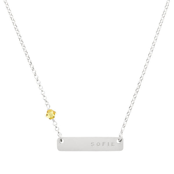 Mini Name Plate Birthstone Necklace