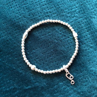 Music Note Silver Bead Bracelet