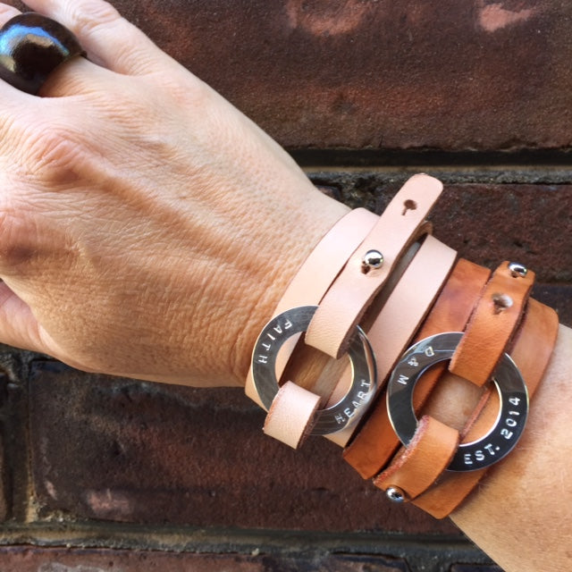 Personalized Natural Leather Cuff