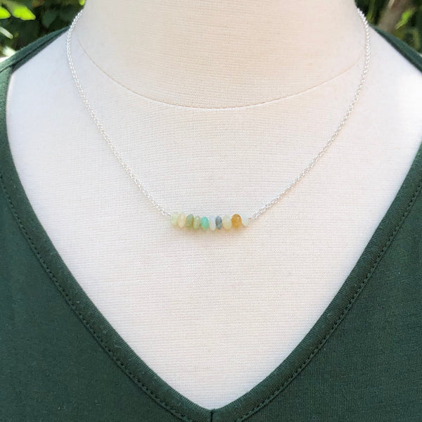Peruvian Opal Bar Necklace