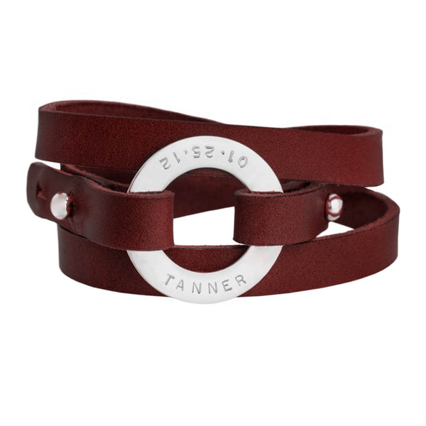 Personalized Bordeaux Leather Cuff
