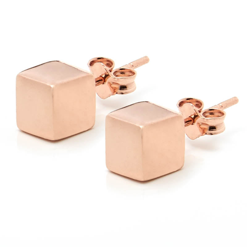 Rose Gold Cube Earrings