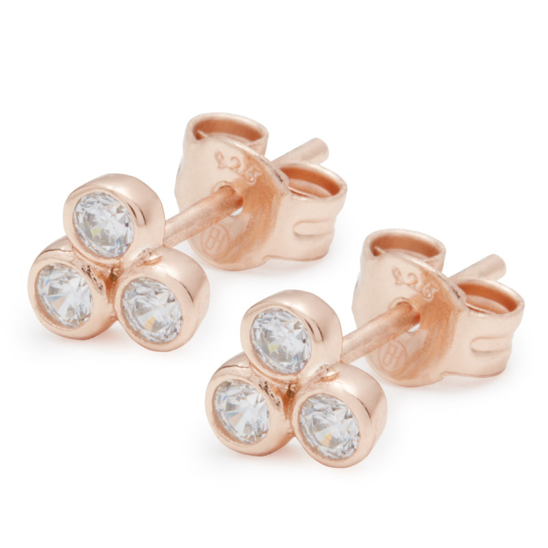 Rose Gold Trio Stud Earrings
