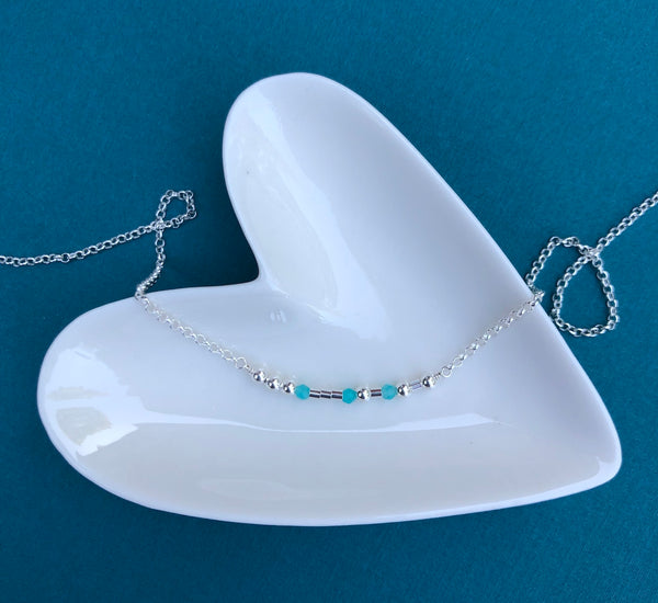 Silver Amazonite Morse Code Necklace