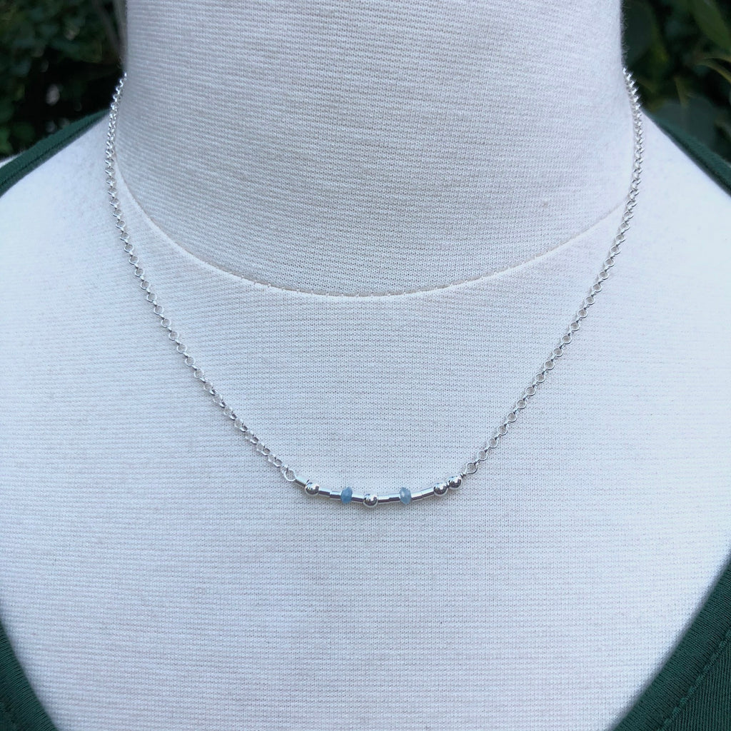 Silver Aquamarine Morse Code Necklace