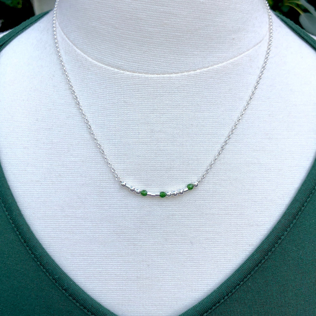 Silver Jade Morse Code Necklace