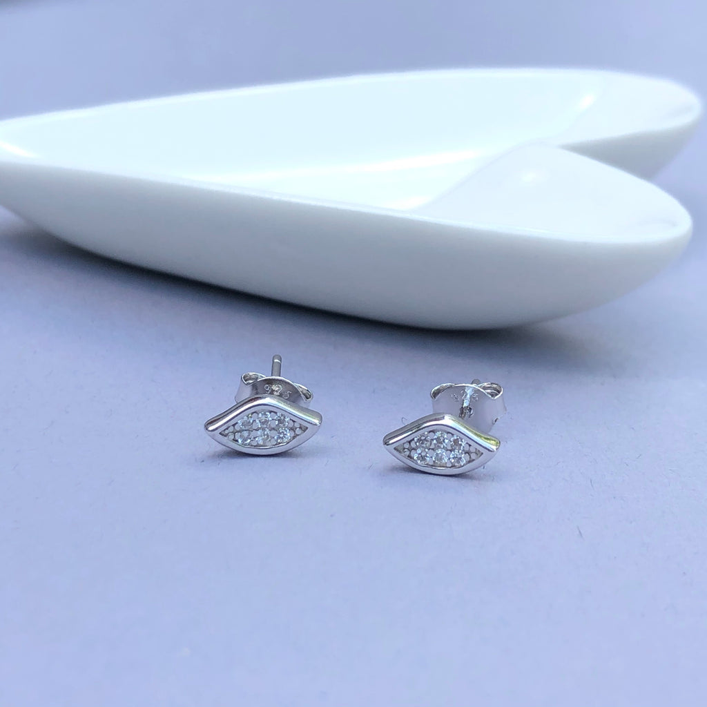 Silver Tear Stud Earrings