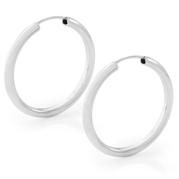 25mm Thick Silver Hoop Earrings